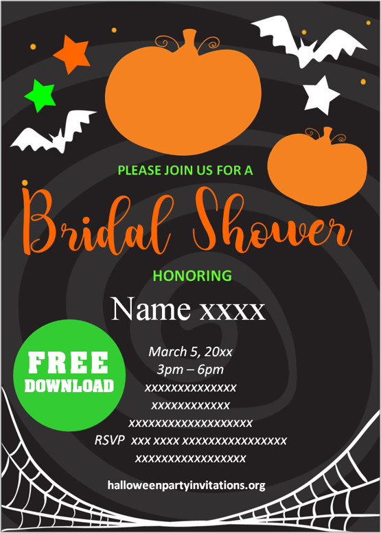 halloween bridal shower invitations printable