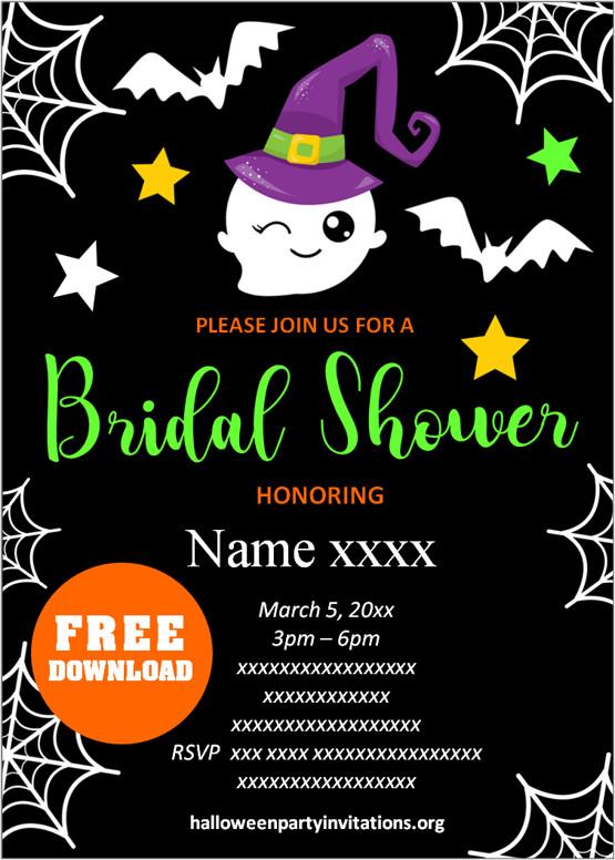 Printable halloween bridal shower invitations