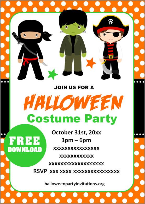 Free Printable Halloween Costume Party Invitations Templates