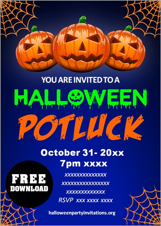 Free halloween potluck invitations