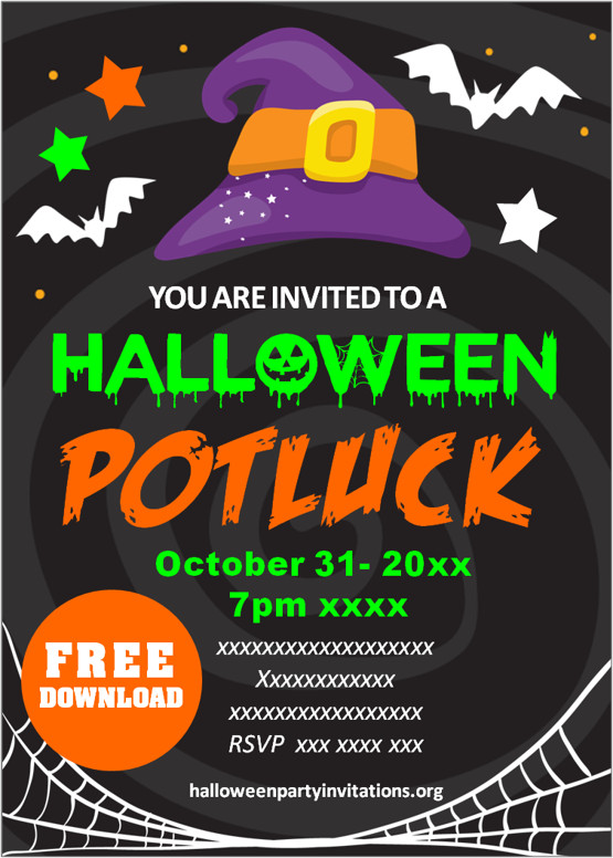 Halloween Potluck Invitations