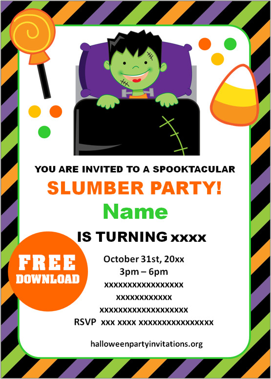 Free halloween sleepover invitations