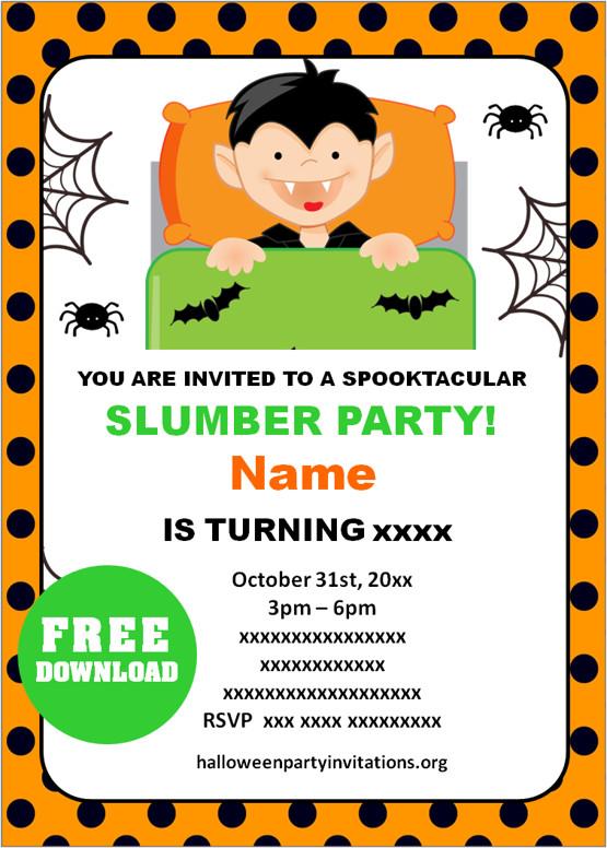 Halloween Sleepover Invitations templates